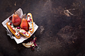 Savoury eclairs with pear, radicchio and blue cheese