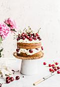Cake with cherries and mascarpone cream