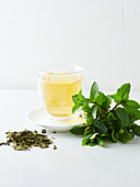 Mint tea, fresh mint and dried tea leaves