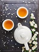 Tea bowls, teapot and white flowers