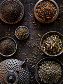 Different tea leaves with a teapot