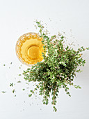 Thyme tea in a glass next to fresh thyme