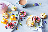 Berry, mango and lemon sweet treats