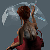 Woman smoking cigarettes, illustration