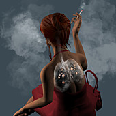 Woman smoking cigarettes, illustration