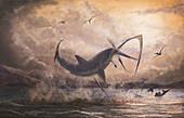 Prehistoric shark attacking pterosaur, illustration
