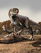 Rajasaurus dinosaur with kill, illustration