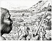 Homo heidelbergensis hunting, illustration