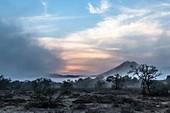 Mist rising over the arid Great Karoo
