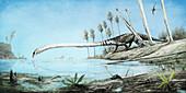 Tanystropheus prehistoric reptile, illustration