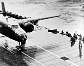 B-25 bomber on aircraft carrier, Doolittle Raid, 1942