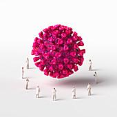 Healthcare workers surrounding coronavirus, illustration