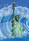 Statue of Liberty submerged in flood water, illustration