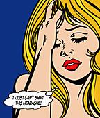 Woman with headache, illustration