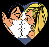 Couple kissing wearing masks, illustration