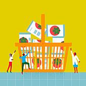People struggling to get groceries, illustration