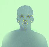 Network grid over human face, illustration