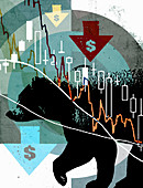 Dollar bear market, illustration
