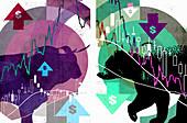 Dollar bull and bear markets, illustration