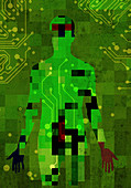 Pixelated man connected to circuit board, illustration