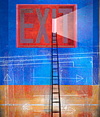 Ladder leading to door in exit sign, illustration