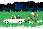 Family driving eco-friendly car, illustration