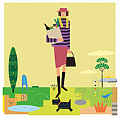 Woman carrying groceries, illustration