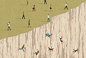 People using phones falling over cliff, illustration