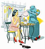 Robot waiter spilling customer's tea, illustration