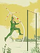 Businessman pole vaulting with wind turbine, illustration