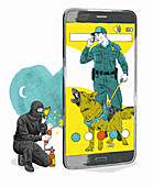 Phone security system detecting hacker, illustration