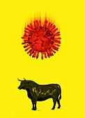 Coronavirus and stock market crash, illustration