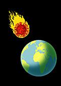Coronavirus meteor heading for earth, illustration