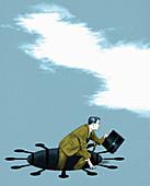 Businessman emerging from coronavirus hole, illustration