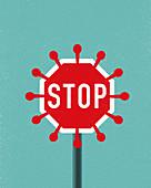 Coronavirus stop sign, illustration