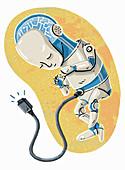 Robot foetus in womb, illustration