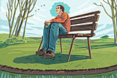 Man sitting on bench enjoying tranquility, illustration