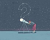 Woman looking through telescope, illustration