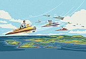 People travelling on euro paper planes, illustration