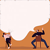 Woman being squashed by man's speech bubble, illustration