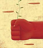 Hand gripping green shoot, illustration
