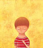 Boy with eyes closed, illustration