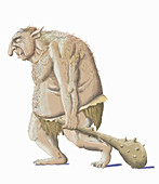 Ugly troll with club weapon, illustration