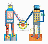 Two robots pressing button, illustration