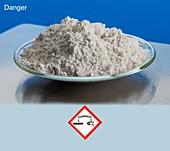 Calcium hydroxide with hazard pictograms