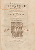Alhazen's Book of Optics, title page
