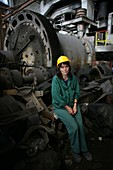 Coal mine worker with machinery