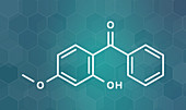 Oxybenzone sunscreen molecule, illustration