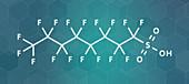 Perfluorooctanesulfonic acid molecule, illustration
