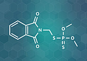 Phosmet organophosphate insecticide molecule, illustration